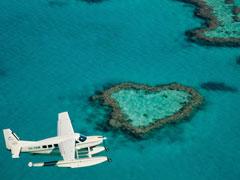 グレートバリアリーフ遊覧飛行ハートリーフとホワイトヘブンビーチ1時間遊覧飛行
