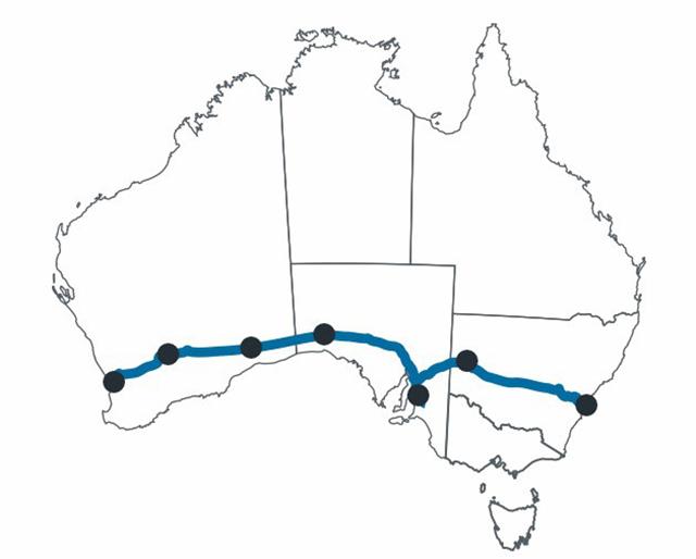 インディアンパシフィック鉄道ルートマップ